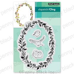 Penny Black - Slapstick Cling Stamp - Wreath & Wings