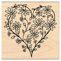 Penny Black Wood Stamp - Daisy Heart