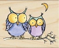 Penny Black - Wood Mounted Stamp - Moonlight Owls