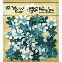 Petaloo - Penny Lane Mini Daisy Pearl Petites - Teal (40 pcs)