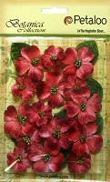 Petaloo - Botanica Vintage Velvet Dogwood - Red (18 pcs + 8 leaves)