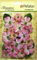 Petaloo - Botanica Vintage Velvet Dogwood - Pink (18 pcs + 8 leaves)