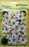 Petaloo - Botanica Vintage Velvet Dogwood - White (18 pcs + 8 leaves)
