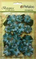 Petaloo - Botanica Vintage Velvet Dogwood - Teal (18 pcs + 8 leaves)