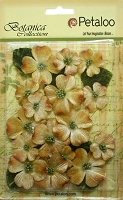Petaloo - Botanica Vintage Velvet Dogwood - Antique Gold (18 pcs + 8 leaves)