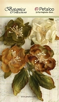 Petaloo - Botanica Collection - Blooms X 4 - Ivory / Green / Brown