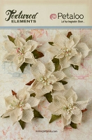 Petaloo - Textured Elements - Burlap Poinsettias - Ivory