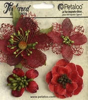 Petaloo - Textured Elements - Mixed Blossoms X 4 - Red