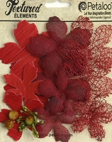 Petaloo - Textured Elements - Textured Blossoms X 12 - Red