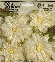Petaloo - Textured Elements - Poinsettias X 4 - Ivory