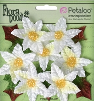 Petaloo - Flora Doodles - 7 Pieces - Mini Poinsettias -White