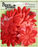 Petaloo - FloraDoodles - Fabric n Glitter - 25 Pieces - Fabric Flower Layers - Poppy Red