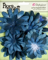 Petaloo- FloraDoodles - Neutral Tones - 25 Pieces - Fabric n Glitter - Dark Blue