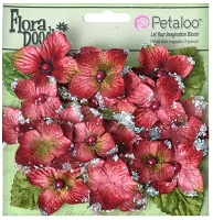 Petaloo - Flora Doodles - 22 Pieces - Velvet Hydrangeas - Burgandy