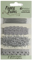 Petaloo - Fancy Trims - Glitz Assortment - All Silver
