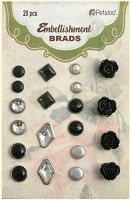 Petaloo - Brads Assortment - 20 Piece - Shades of Black