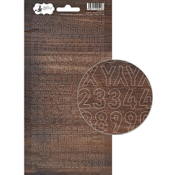 Piatek 13 - Soulmate Collection - Alphabet Stickers 01 woodgrain