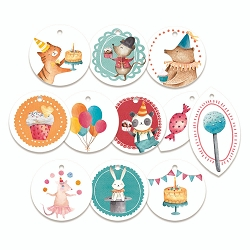 Piatek 13 - Happy Birthday Collection - Decorative Tags (ephemera)