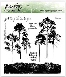 Picket Fence Studios - Watercolor Trees and Bushes Clear Stamps