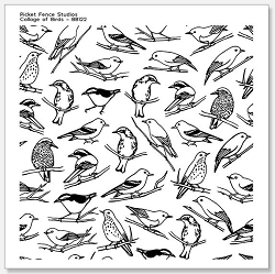 Picket Fence Studios - Collage of Birds Clear Stamps