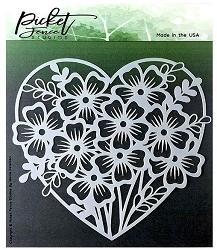 Picket Fence Studios - Heart of Flowers Stencil