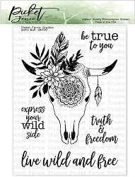 Picket Fence Studios - Boho Bull Clear Stamps