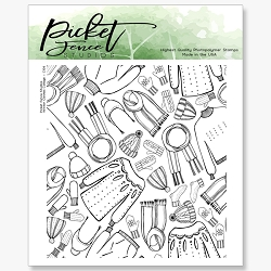 Picket Fence Studios - Winter Clothes Collage Clear Stamps