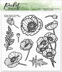 Picket Fence Studios - Poppy Blossoms Clear Stamps