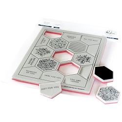 Pinkfresh Studio - Cling rubber stamp:  Pop Out Hexagons