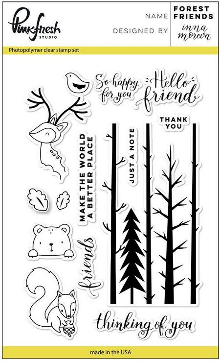 4X6 Pinkfresh Studio Forest Friends Clear Stamp Set
