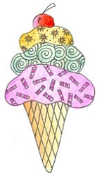 Pink Ink - Wood Mounted Rubber Stamp - Doodles Ice Cream Cone