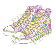 Pink Ink - Wood Mounted Rubber Stamp - Hi Top Sneakers