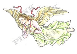 Pink Ink - Wood Mounted Rubber Stamp - Angel On High