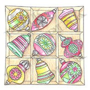 Pink Ink - Wood Mounted Rubber Stamp - Box of Ornaments