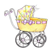 Pink Ink - Wood Mounted Rubber Stamp - Baby Buggy