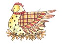 Pink Ink - Wood Mounted Rubber Stamp - Buttermilk Hen