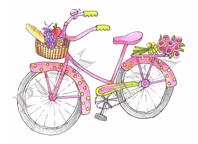 Pink Ink - Wood Mounted Rubber Stamp - Polka Dot Bike