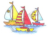 Pink Ink - Wood Mounted Rubber Stamp - Three Sailboats