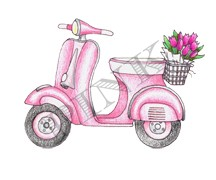 Pink Ink - Wood Mounted Rubber Stamp - Snazzy Scooter