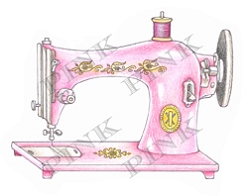 Pink Ink - Wood Mounted Rubber Stamp - Sewing Machine