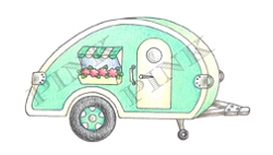 Pink Ink - Wood Mounted Rubber Stamp - Teardrop Trailer