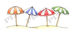 Pink Ink - Wood Mounted Rubber Stamp - Beach Umbrellas