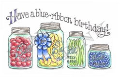Pink Ink - Wood Mounted Rubber Stamp - Blue Ribbon Birthday