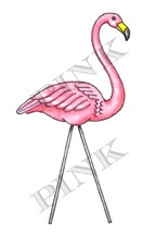 Pink Ink - Wood Mounted Rubber Stamp - Yard Flamingo