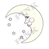 Pink Ink - Wood Mounted Rubber Stamp - Moon Face