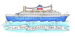 Pink Ink - Wood Mounted Rubber Stamp - Dream Cruise