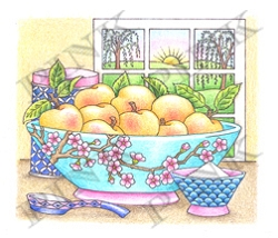 Pink Ink - Wood Mounted Rubber Stamp - Bowl of Peaches