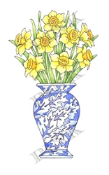 Pink Ink - Wood Mounted Rubber Stamp - Sunny Daffodils