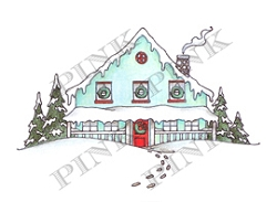 Pink Ink - Wood Mounted Rubber Stamp - Holiday House