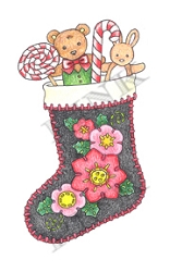 Pink Ink - Wood Mounted Rubber Stamp - Felt Stocking